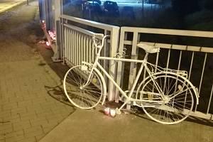 Členové Cyklo Budějovice, sdružení občanů usilujících o zlepšení podmínek pro cyklisty v krajském městě, vytvořili u kruhového objezdu v Litvínovicích na místě, kde minulý čtvrtek přejela tatra poštovní doručovatelku, stylizované memento.