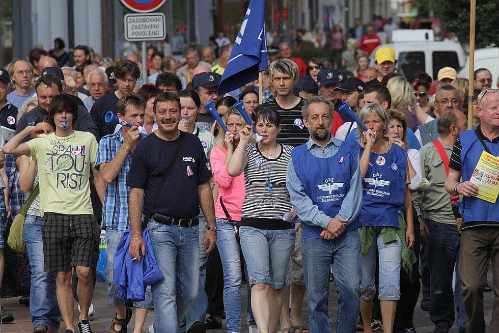 Odborářská demonstrace proběhla také v Českých Budějovicích