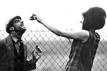 Pro natočení filmu Intimní osvětlení posloužila mirotická vilka, v Táboře pak hudební škola a hřbitov. Na snímku mirotická postavička Jarouš Chmelík s herečkou Věrou Křesadlovou.