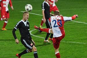 Michal Škoda je první posilou Dynama pro novou sezonu. Na archivním snímku v dresu Dynama při svém prvním angažmá na jihu Čech v roce 2014 v zápase proti Slavii.