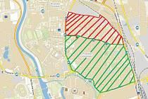 Od příštího roku by chtěla radnice spustit nový systém parkování na části Pražského předměstí (zóna na mapě vyznačená červeně a zeleně).