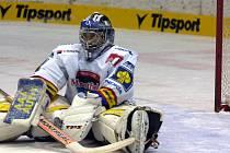 Martin Altrichter letos poprvé zaskočil v brance HC Mountfield za Romana Turka, který se zranil v úvodu zápasu v Litvínově. První letošní porážce svého týmu zabránit nedokázal.