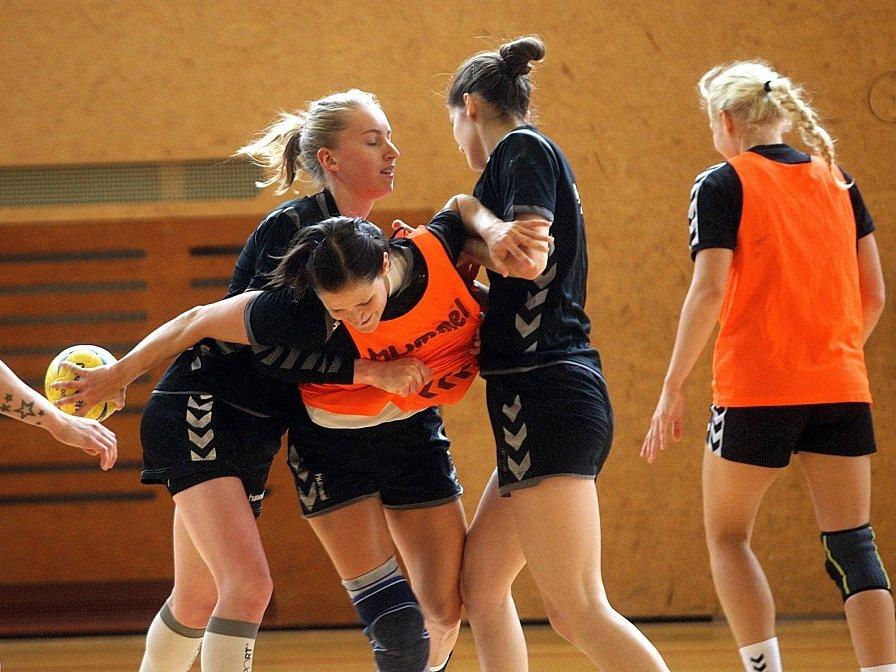 TĚŽKO NA CVIČIŠTI, ...Veronika Malá se bude muset o svou pozici v reprezentačním kádru ještě poprat. Na snímku (čtvrtá zprava) se o míč pere se svými reprezentačními kolegyněmi během soustředění před kvalifikací s Nizozemskem v Luhačovicích.