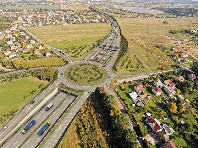 Mimoúrovňová křižovatka Hodějovice (na vizualizaci) by mohla vypadnout z projektu dálnice. O její realizaci rozhodnou projektanti a příslušné instituce.