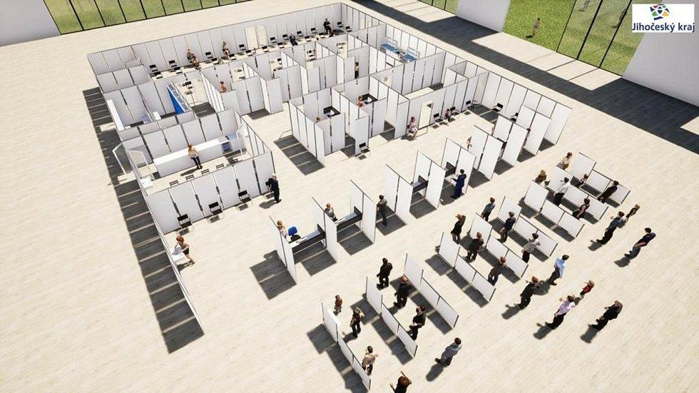 Takto mají vypadat specializovaná vysokoprůtoková vakcinační centra podle hejtmana Martina Kuby, zkušební postaví v areálu Výstaviště České Budějovice.