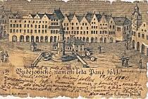 Historická pohlednice vytvořená podle rytiny českobudějovického náměstí ze 17. století.