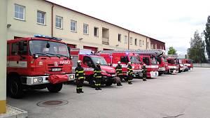 Jihočeští hasiči uctili památku kolegů, kteří zahynuli při výbuchu v Koryčanech.