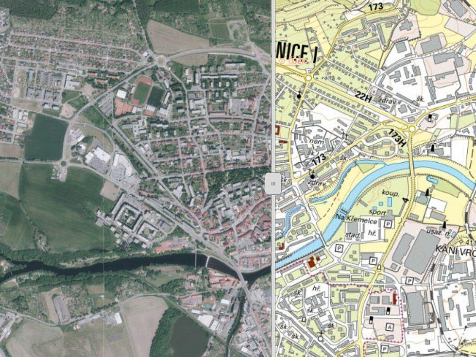 Na Geoportálu Jihočeského kraje najdete také krajské ortofotomapy a místopisné mapy, na snímku jsou Strakonice.