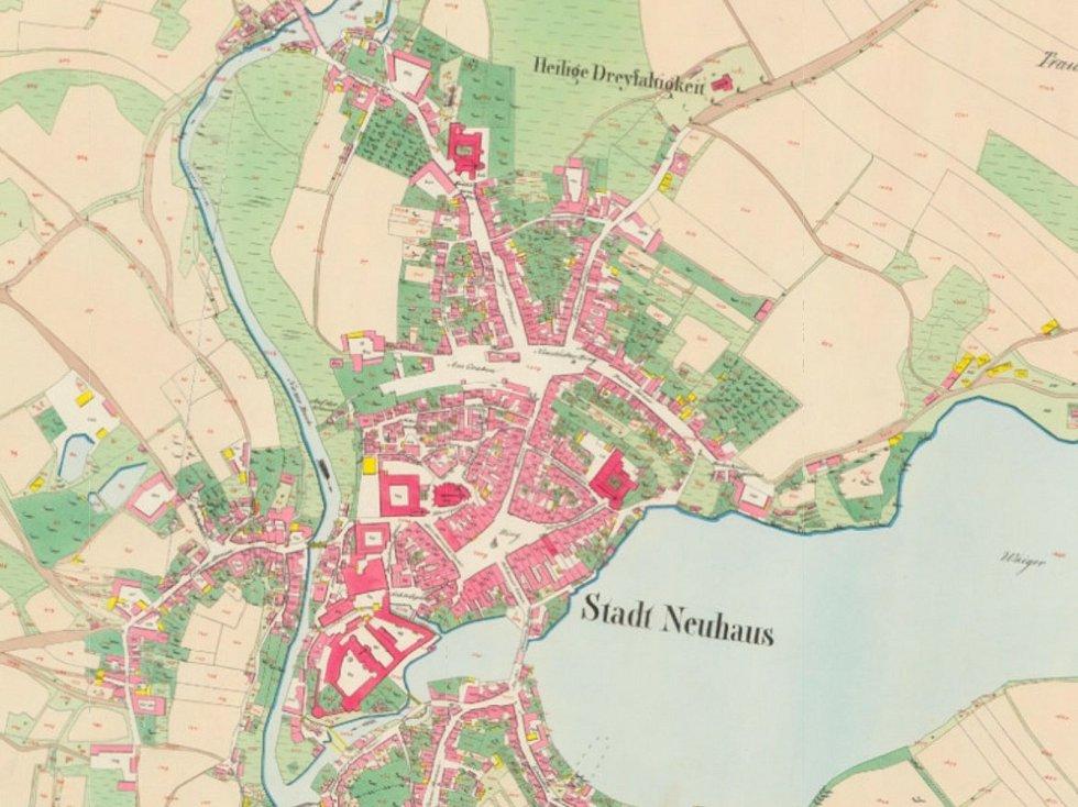 Stará katastrální mapa Jindřichova Hradce.
