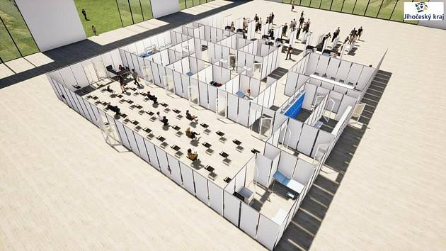 Vizualizace očkovacího centra v pavilonu T českobudějovického výstaviště.