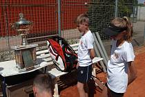 Tenisové výsledky mládeže, České Budějovice vyhrály v Plané. Na snímku pohár, který Jihočeši přivezli z utkání v Pasově.