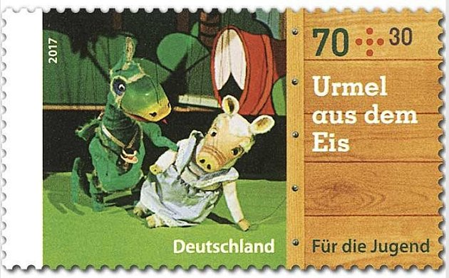 Figurka Urmel má poštovní známku.