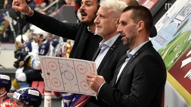 Trenéři ČEZ Motoru: zprava Luboš Rob, Marian Jelínek a Aleš Kotalík.