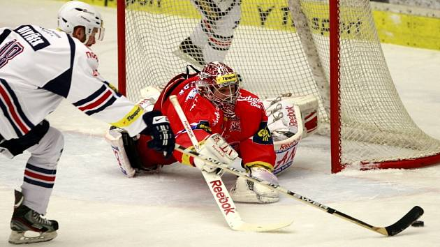 Utkání  Tipsport hokejové extraligy mezi HC Mountfield České Budějovice a HC Piráti Chomutov.