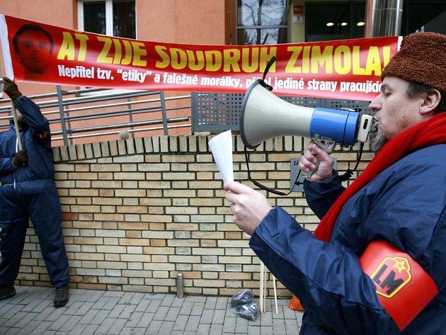Zasedání jihočeských krajských zastupitelů v Českých Budějovicích zpestřili demonstranti v kostýmech uniforem Lidových milic.