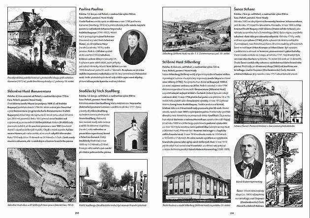 Roman Podhola, rodák zČeského Krumlova, vydal knihu – encyklopedii 583portrétů zmařené Šumavy. Na snímku jedna zdvoustran knihy.