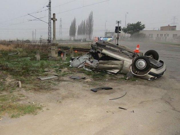 Nehoda na přejezdu v Hrdějovicích.