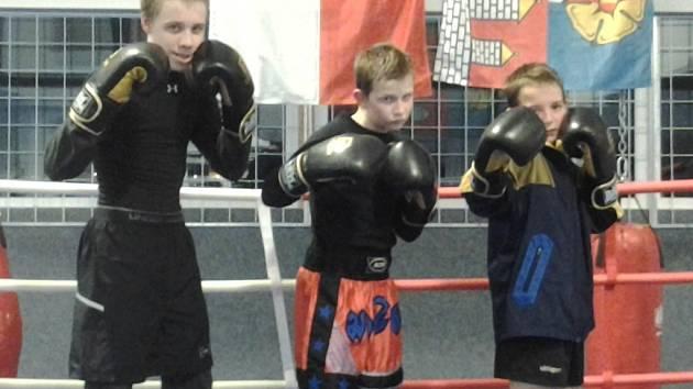 Na mistrovství ČR mladých boxerů budou i tři borci pořádajícího Box Clubu Táty Němce: zleva Petr Šindler, Dominik Pinc a Petr Vrba.