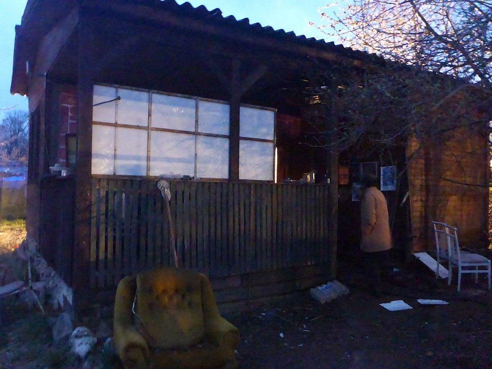 Požár chaty v Litvínovicích.
