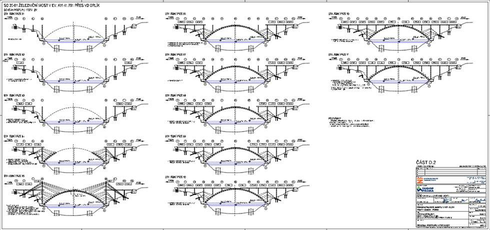 Schéma navrženého postupu výstavby nového mostu.