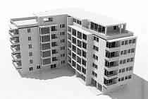 Snímek zobrazuje návrh bytového domu v lokalitě Na Bahnech, autorem je firma ARKUS5.