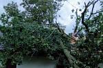 V bouřce spadl strom na střechu i do cesty vlaku