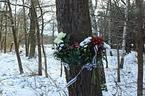 Místo, kde lidé uctívají památku tragicky zesnulého Jana M. z Údolí u Nových Hradů.