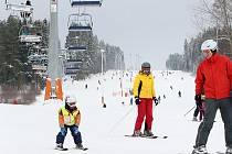 Lyžování ve Skiareálu Lipno.