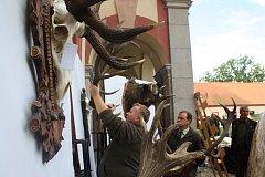 Myslivecké slavnosti ozdobila také výstava trofejí z hlubockých obor v nádvoří zámku Ohrada. Trofeje přivezli ukázat pracovníci Lesů České republiky.