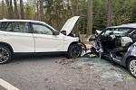 Při střetu dvou aut u Břehova na silnici z Češnovic na Němčice se zranily také dvě děti. Jedno v nemocnici následně zemřelo.