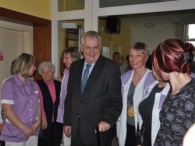 Miloš Zeman v táborském G-centru.