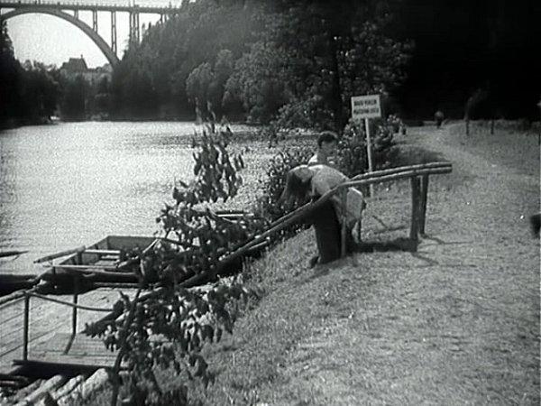 Převozník Ryba vynáší na břeh utzv. sokolské plovárny utonulou dívku. Dnes je místo zarostlé.