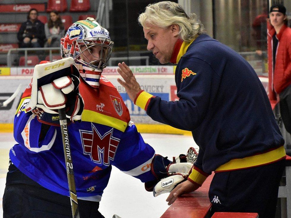 Jan Strmeň (vlevo) s trenérem gólmanů Stanislavem Hrubcem.