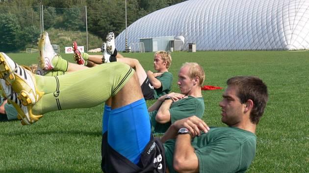 Za výkon v K. Varech trenér Musil chválil jak Leštinu (vpředu), tak Švehlu (za ním), své si odehrál i Kaňák (vzadu).