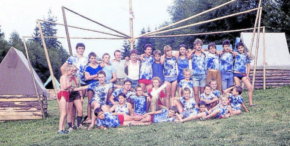 Tábor Pavouků na Ličově za Kaplicí v roce 1987.