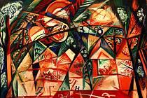 Obrazy a kresby Natálie Gončarové, jejichž pojistná hodnota jde do stamilionů korun, vystavuje Alšova jihočeská galerie do 26. června ve Wortnerově domě. Na snímku návrh opony pro balet Espaňa z roku 1916.