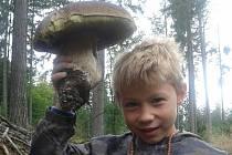 Babička osmiletého Matyáše Tomky našla u Šalmanovic obří hřib. Vnouček si ho mohl vydloubnout.