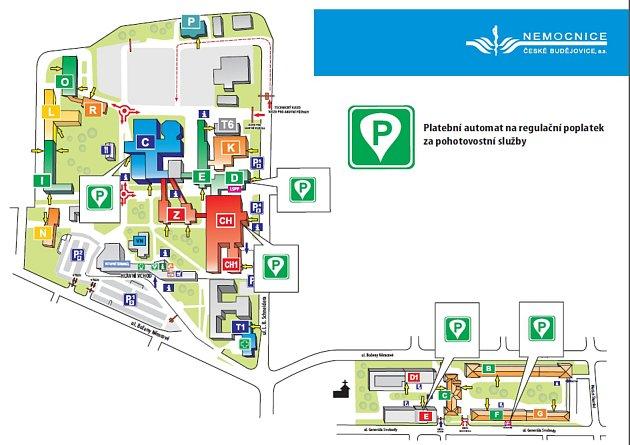 Mapa míst, kde lze vareálech českobudějovické nemocnice platit za ošetření na pohotovosti ikartou.