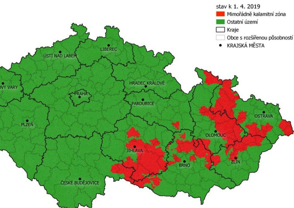 Rajonizace území ČR k 1. dubnu roku 2019, srovnávací obrázek.