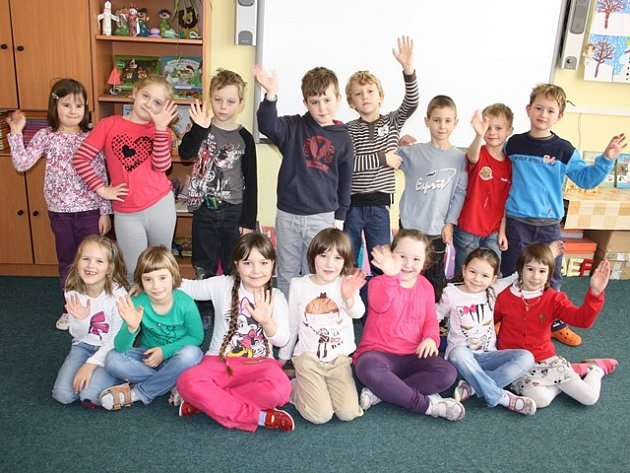 Žáci 1. A Základní školy Ševětín.