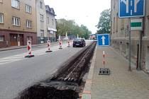 Uzavření Mánesovy ulice v Českých Budějovicích.