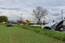 Sobotní hromadná nehoda u Čejkovic.