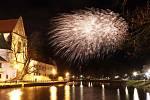 České Budějovice si letos užili svůj novoroční ohňostroj.