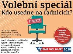 Volební Táborský týden koupíte jako přílohu středečního Deníku nebo od čtvrtka samostatně s vloženým TV magazínem.