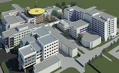 K novým investicím v nemocničním areálu patří výstavba perinatologického centra (vlevo dole), nástavba dvou pater pavilonu C (vpravo) a vestavby mezi pavilony CH a Z. Na její střeše vznikne heliport.