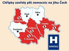 Kde je zákaz návštěv v nemocnicích na jihu Čech.