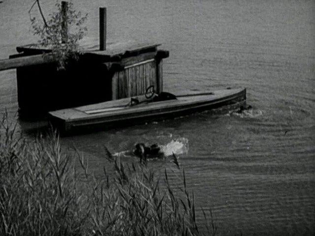 Vepředu plave Jan Werich, vzadu u člunu a stavidla hlava Jiřího Voskovce.