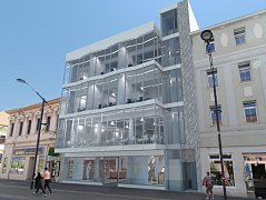 Takto má vypadat budova s proskleným průčelím, která vyroste na Lannově třídě nedaleko od vlakového nádraží.