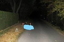 Cyklista na e-kole zřejmě přehlédl překážku u silnice.
