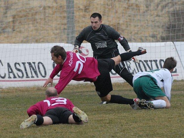 Brankář David Hrubý v utkání zimní přípravy proti Dynamu.